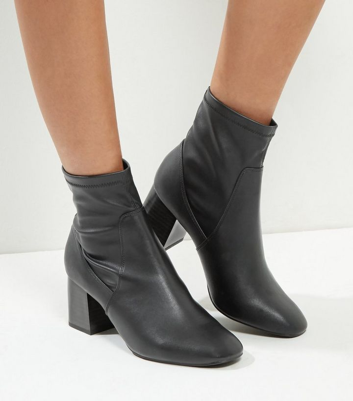 40a7fc9f8 Wide Fit Black High Ankle Block Heel Boots | New Look