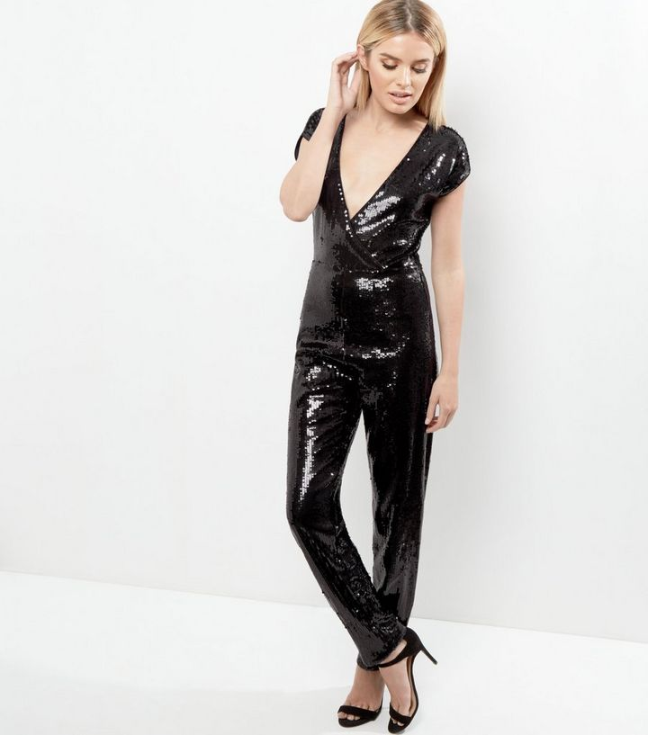 ee22aca017 Black Sequin V Neck Wrap Front Short Sleeve Jumpsuit