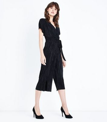 Black Pleated Wrap Front Culotte Jumpsuit New Look