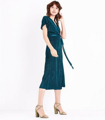 Dark Green Pleated Wrap Front Culotte Jumpsuit New Look