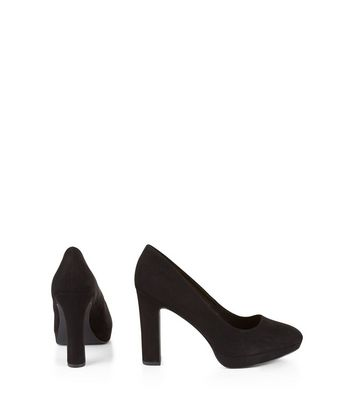 Wide Fit Black Suedette Platform Court Shoes New Look