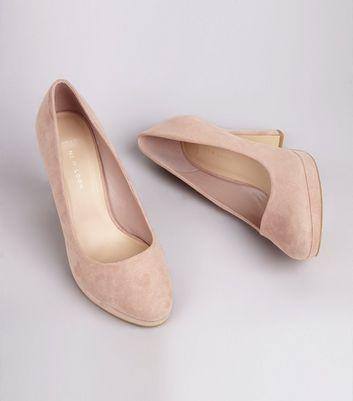 Wide Fit Pink Suedette Court Shoes