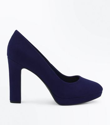 Wide Fit Navy Suedette Platform Court Shoes New Look