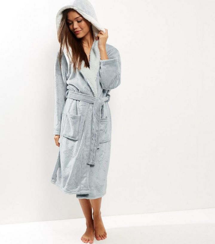 24a1e76650 Grey Burnout Star Borg Lined Dressing Gown