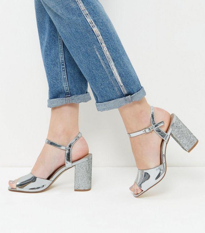 4c717e16967 Wide Fit Silver Glitter Block Heels
