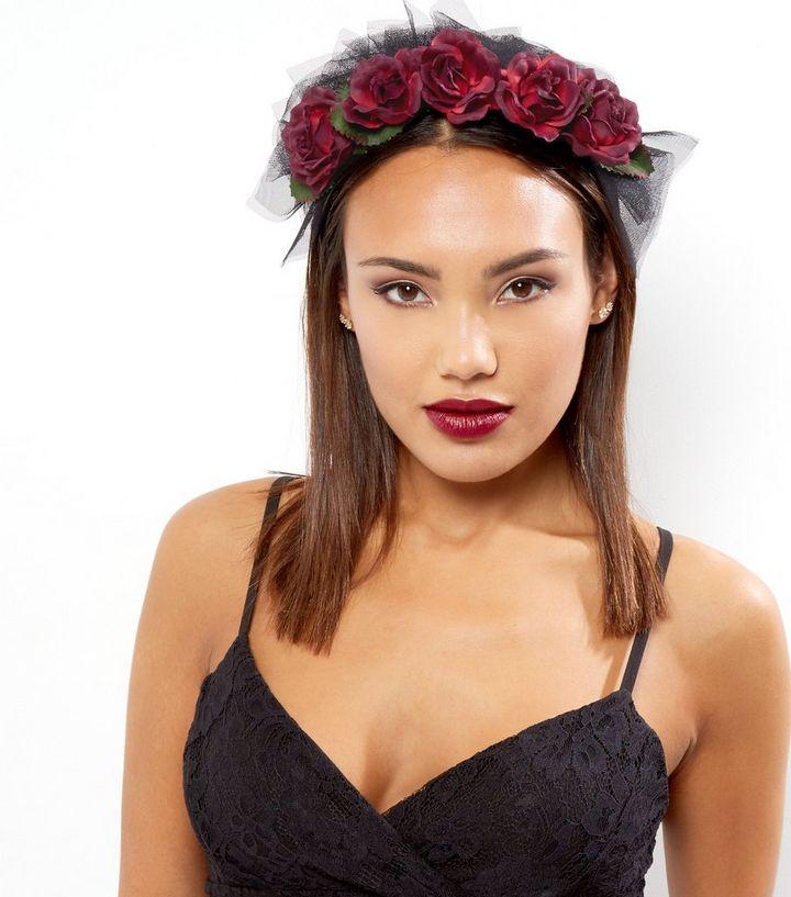 Black Lace Floral Halloween Headband  ca88812d1d4