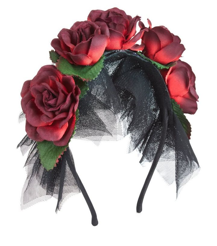 black lace floral halloween headband new look