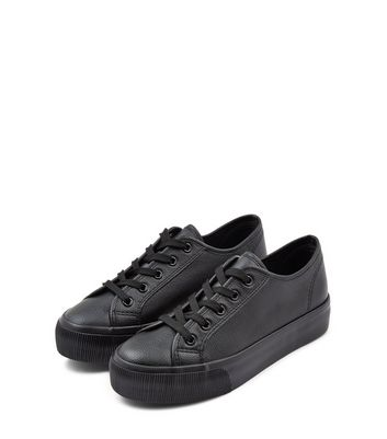 Black Lace Up Platform Trainers   New Look