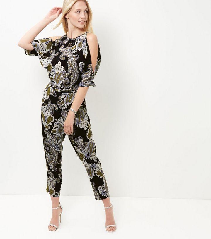 c0c334a8b0 Cameo Rose Black Paisley Print Cold Shoulder Jumpsuit