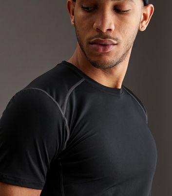 Black Stretch Short Sleeve Sports T-Shirt New Look