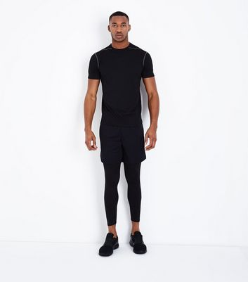 Black Mesh Short Sleeve Sports T-Shirt New Look