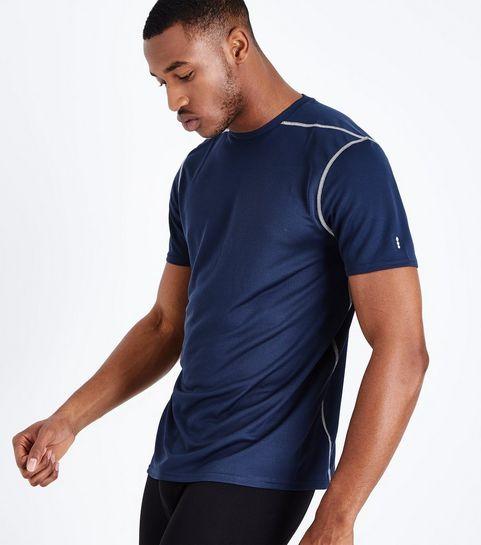 a854c46ab4bf ... Navy Mesh Sports T-Shirt ...
