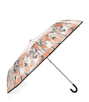 Orange Floral Bird Print Umbrella New Look