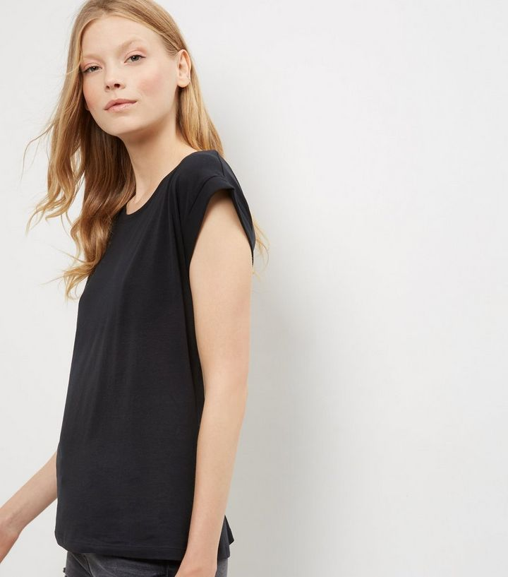84822440 Black Roll Sleeve T-Shirt | New Look