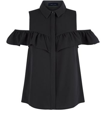 Black Button Front Cold Shoulder Frill Shirt Add to Saved Items Remove from Saved Items