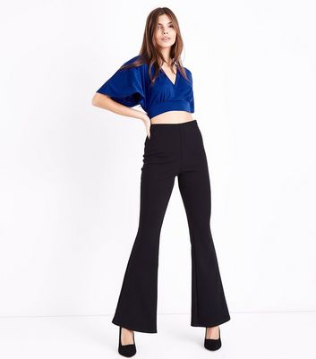 Blue Cape Sleeve Wrap Front Crop Top New Look