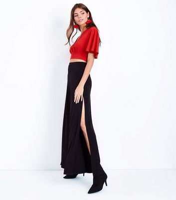 Red Cape Sleeve Crop Top New Look