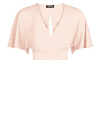 Shell Pink Cape Sleeve Wrap Front Crop Top New Look