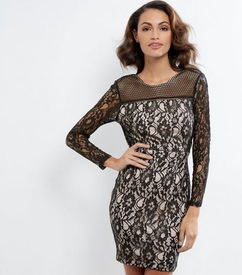 AX Paris Black Lace Long Sleeve Dress New Look