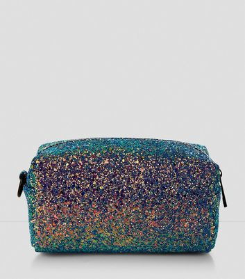Green Sequin Make Up Bag New Look