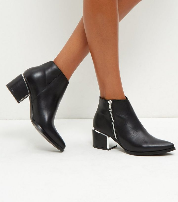 6c25ea3e773 Black Metal Trim Leather Ankle Boots Add to Saved Items Remove from Saved  Items