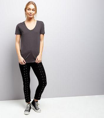 Dark Grey Short Sleeve T-Shirt New Look