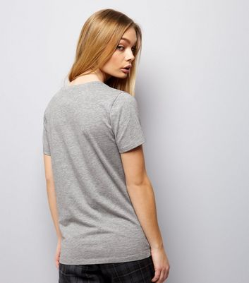 Mid Grey Scoop Neck Short Sleeve T-Shirt New Look