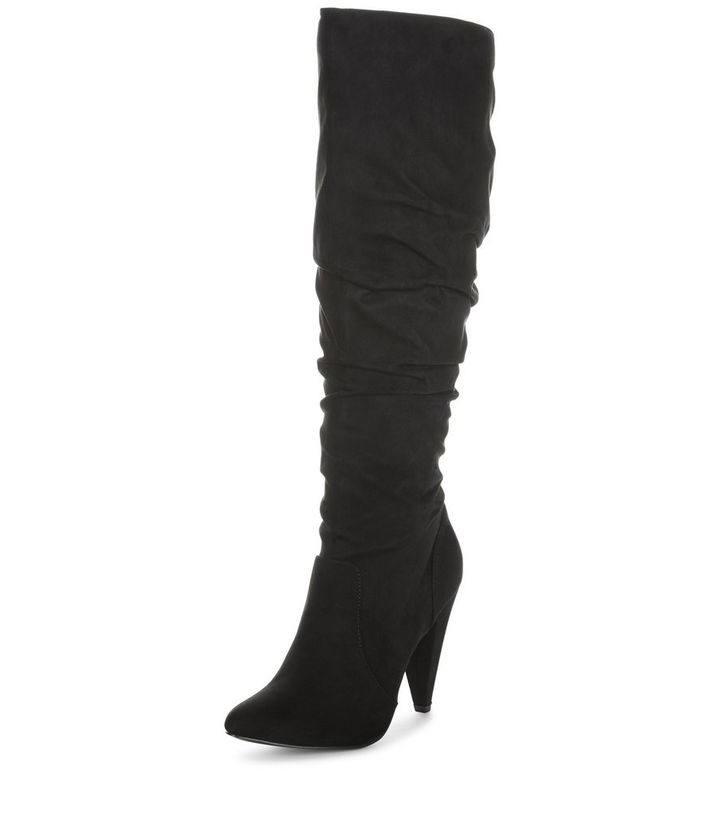 c69e7a77130 ... Black Suedette Ruched Top Knee High Boots. ×. ×. ×. VIDEO Shop the look