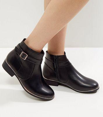 Wide Fit Black Leather-Look Metallic