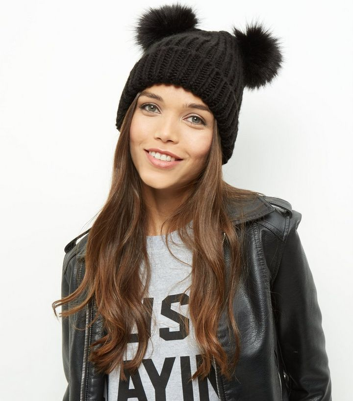 6ff1d8da5b4 Black Double Faux Fur Pom Pom Beanie Hat