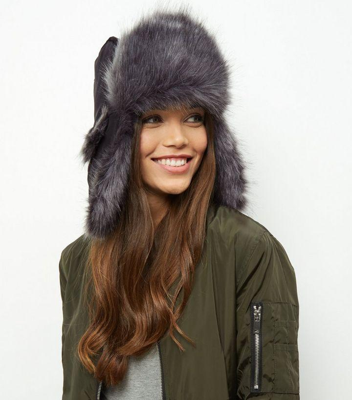 Black Faux Fur Trapper Hat  5bb7bf3780c