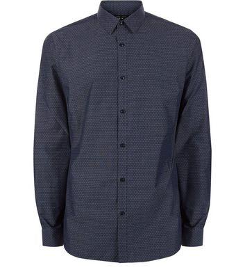Navy Circle Pattern Long Sleeve Shirt New Look
