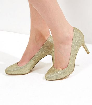 Gold Glitter Comfort Court Shoes | New Look