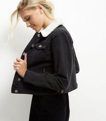 Veste jean noire mouton femme
