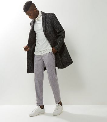 Grey Cropped Turn Up Hem Trousers New Look