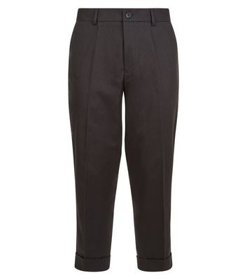 Black Wide Leg Cropped Cotton Tailored Trousers New Look