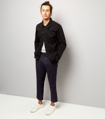 Black Cropped Cotton Slim Leg Trousers New Look
