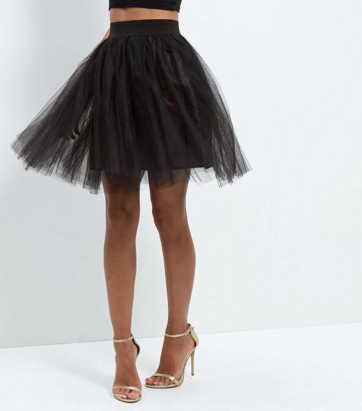 8085d9c715 Cameo Rose Black Tulle Pleated Mini Skirt | New Look