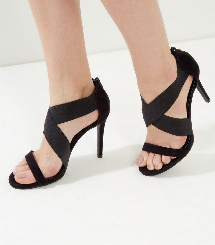 0ecf63e820f01a Wide Fit Black Suedette Elasticated Strap Heels