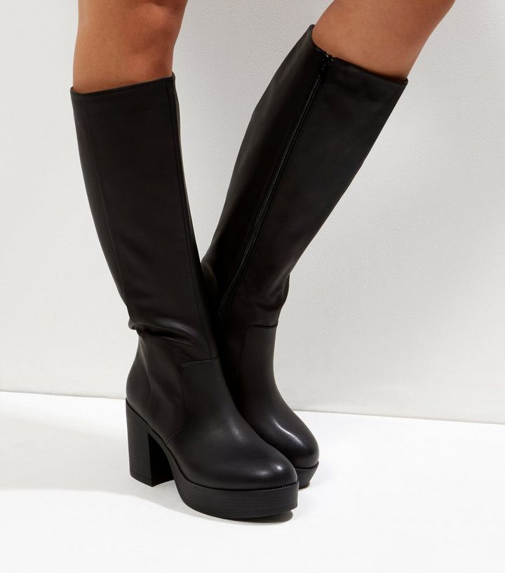 4ff367432f6 Black Chunky Platform Knee High Boots