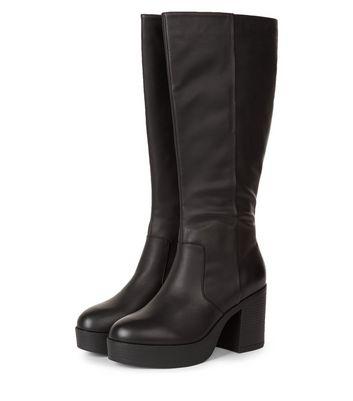 Black Chunky Platform Knee High Boots