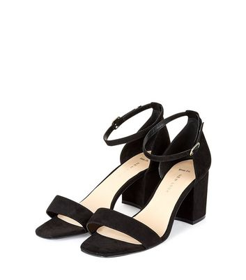 Wide Fit Black Suedette Square Toe Sandals New Look