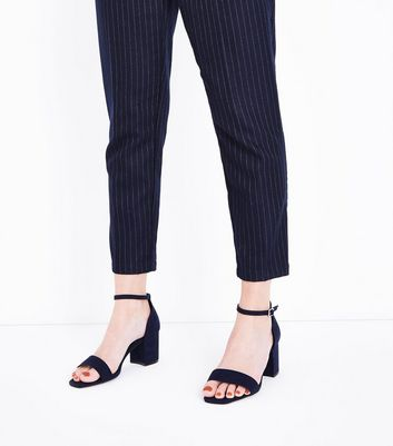 Wide Fit Navy Suedette Square Toe Sandals New Look