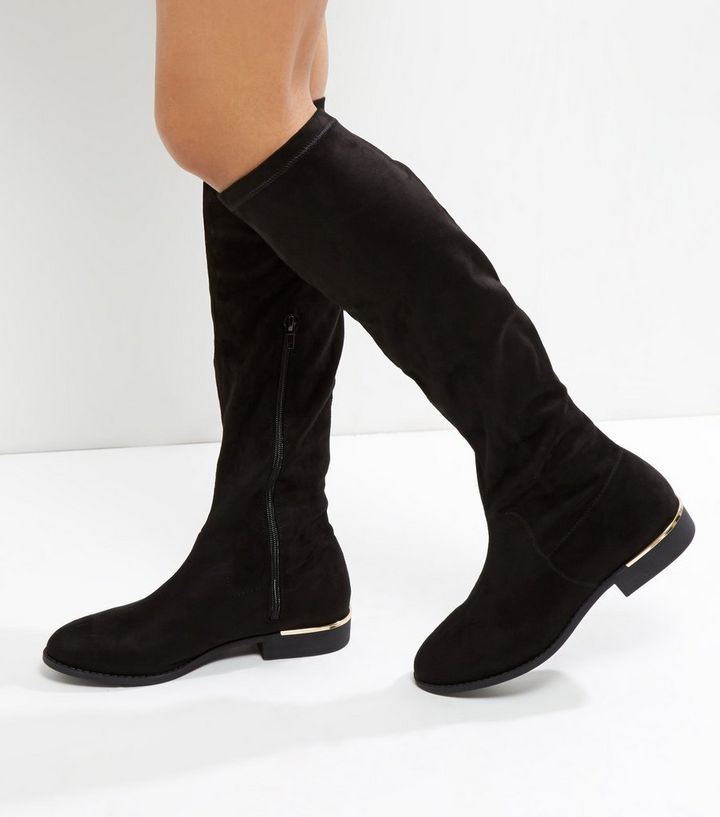 a28777afc2 Wide Fit Black Suedette Metal Trim Knee High Boots Add to Saved Items  Remove from Saved Items
