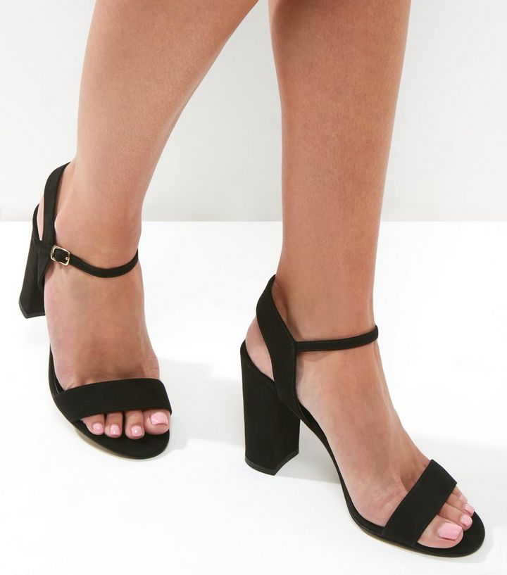 9782d550a3c Black Suedette Block Heel Ankle Strap Sandals Add to Saved Items Remove  from Saved Items
