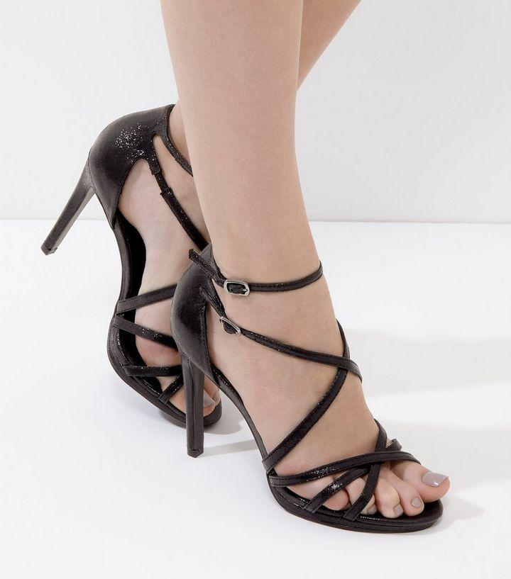 b6b97a43a4a Black Multi-Strap Heels