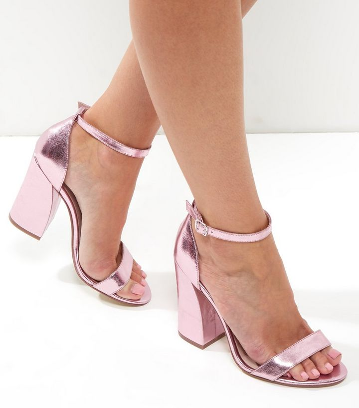 d5cf163a8e6 Pink Metallic Flared Block Heels