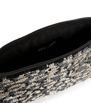Black Leopard Print Embellished Clutch New Look
