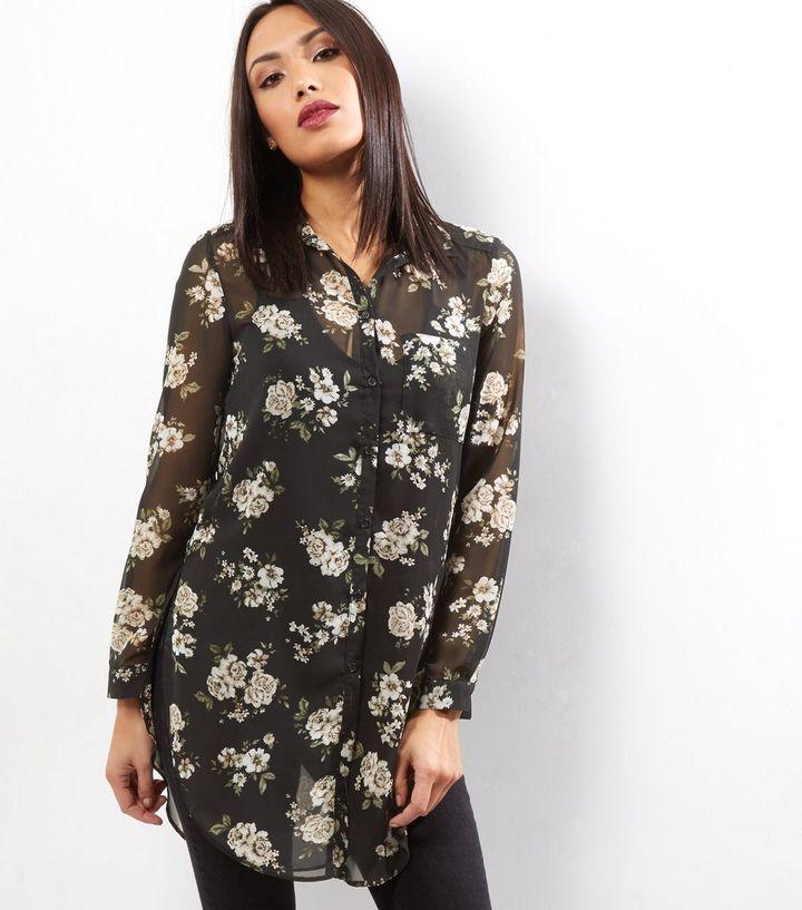 28ce74bc Black Floral Print Longline Shirt   New Look