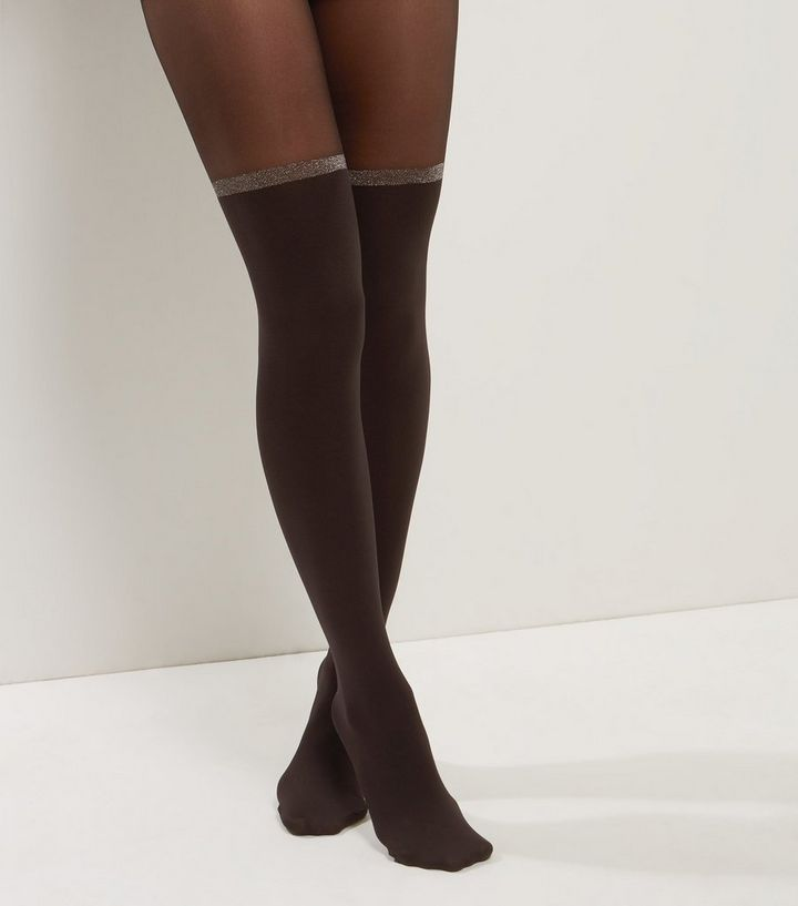 a4fb3a8af65 Black Glitter Trim Suspender Tights